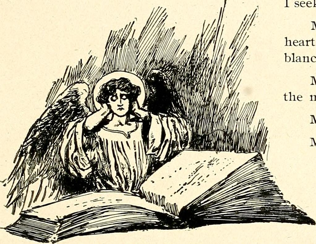 Angel reading a book with hands on the sides of its head