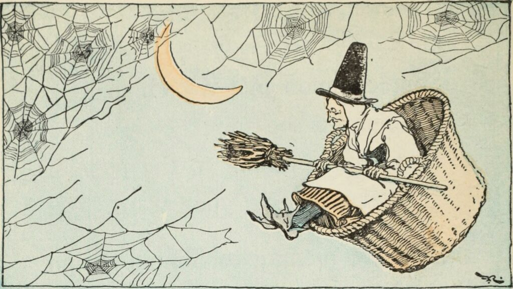 Witch flying in basket with a broom across her lap. She seems perfectly happy but then again she read books with sex in them. Don't be like her.